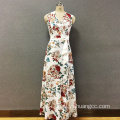 Women's polyester printed long dress